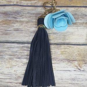 Leather Tassel Handbag Charm
